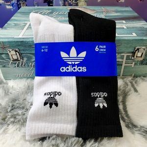 Adidas 6 pair Crew white and black socks